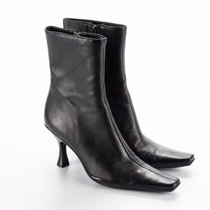 BCBG Black Leather Square Toe Booties